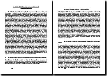Le chef de l'Etat dans la pensée constitutionnelle du général de Gaulle