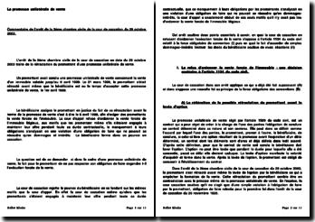 La promesse unilatérale de vente : Commentaire de l'arrêt de la 3ème chambre civile de la cour de cassation du 28 octobre 2003.