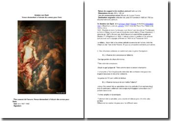 Antoine van Dyck. Venus demandant à Vulcain des armes pour Enée