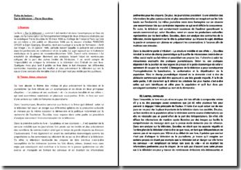 Fiche de lecture : Sur la télévision - Pierre Bourdieu