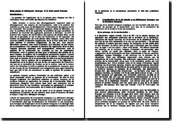 Droit pénal: le délinquant étranger et le droit pénal français