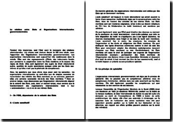 La relation entre Etats et Organisations Internationales gouvernementales