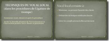Techniques du vocal local dans les procédures de ligature de trompes