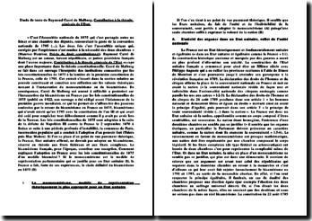 Le bicamérisme en France en 1875, étude de texte de Raymond Carré de Malberg: Contribution à la théorie générale de l'Etat