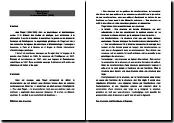 Jean Piaget - Le structuralisme (1968)