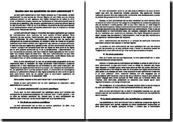 Quelles sont les spécificités du droit administratif?