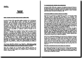 La loi Badinter: la place de la faute dans la loi du 5 juillet 1985 relative à la réparation des accidents de la circulation causés par un véhicule terrestre à moteur ?