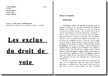 Les exclus du droit de vote: dossier d'enquête