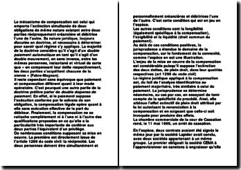 La compensation des dettes connexes - arrêt de la cour de Cassation du 11 mai 1995