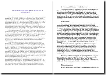 Distinction des responsabilités délictuelle et contractuelle: caractéristiques et critique des critères de distinction