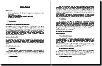 Cours de droit pénal général: la criminalité et les infractions