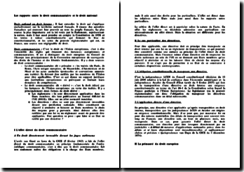 Les rapports entre le droit communautaire et le droit national