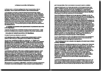 L'analyse du fonctionnement du régime parlementaire sous la IIIè et IVè République