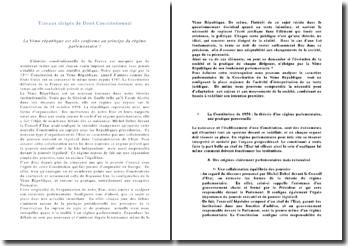 La Vème République est-elle conforme au principe du régime parlementaire ?