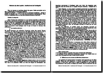 Histoire du droit public : les institutions de l'antiquité