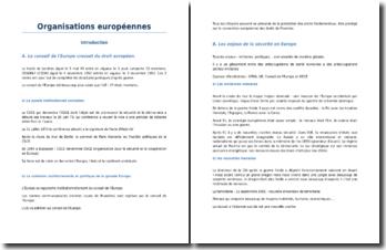 Les organisations européennes