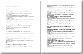Question prioritaire de constitutionnalité du 16 septembre 2011: la légalité criminelle