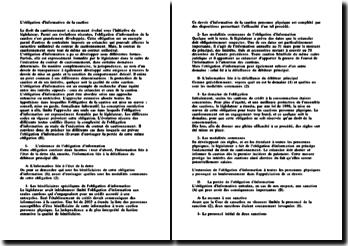 La complexité de l'obligation d'information au stade de l'exécution du contrat de cautionnement