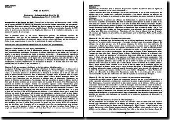 De l'esprit des Lois (Livre II et III) et Du Contrat Social (Extrait du Livre III)