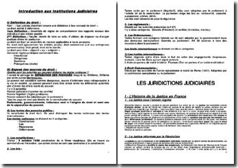 Introduction aux institutions judiciaires