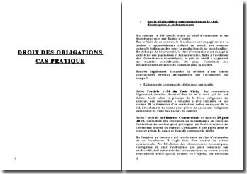 Droit des obligations: étude de cas pratiques