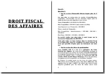 Etude de cas en droit fiscal des affaires