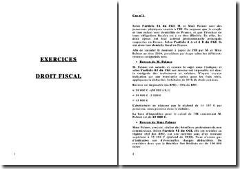 Exercice de calcul d'imposition et de résultat fiscal