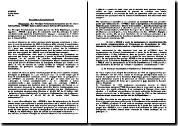 Les principes fondamentaux reconnus par les lois de la République (PFRLR) dans la jurisprudence du Conseil Constitutionnel
