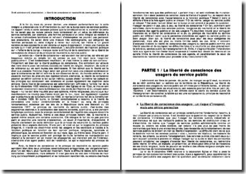 La liberté de conscience et le principe de neutralité du service public: deux principes constitutionnels antagonistes