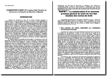 COMMENTAIRE D'ARRET CE 2 octobre 2002 Chambre de Commerce et d'Industrie de Meurthe et Moselle