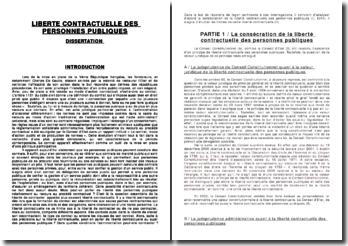 La liberté contractuelle des personnes publiques - jurisprudence et limites