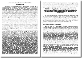 Commentaire d'arrêt, Chambre criminelle 9 mai 2001