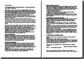 « Les variables lourdes en sociologie électorale », Etat des controverses, Nonna Mayer et Daniel Boy.