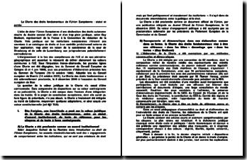 La Charte des droits fondamentaux de l'Union Européenne : statut et portée