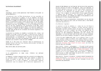 Les fonctions du parlement - représentation et application des politiques suivant la loi