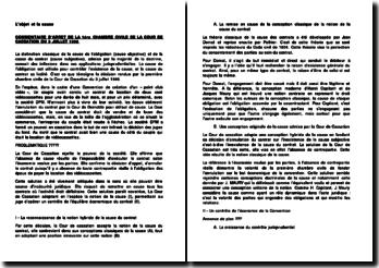 L'objet et la cause : COMMENTAIRE D'ARRET DE LA 1ére CHAMBRE CIVILE DE LA COUR DE CASSATION DU 3 JUILLET 1996