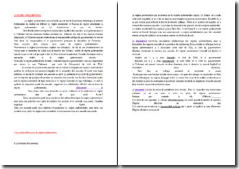 Le regime parlementaire - critères théoriques et organisation du travail