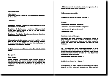 Le fédéralisme Allemand est il encore d'actualité ? Commentaire du texte « extraits de la Loi Fondamentale Allemande du 23 mai 1949. »