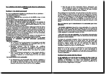 Les solutions du droit positif français dans les principaux statuts
