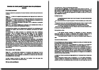 Solution du droit positif français dans les principaux statuts