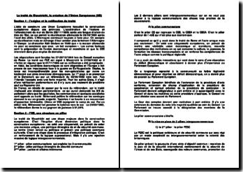 Le traité de Maastricht, la création de l'Union Européenne (UE)