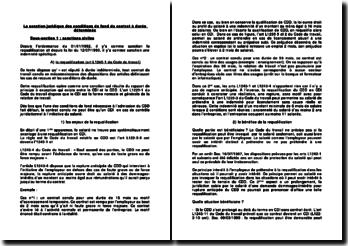 La sanction juridique des conditions de fond du contrat à durée déterminée