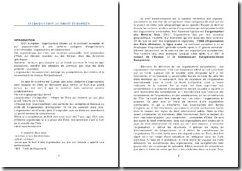Introduction au droit européen: le conseil européen et la communauté européenne