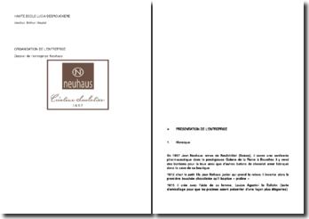 Organisation de l'entreprise : Dossier de l'entreprise Neuhaus