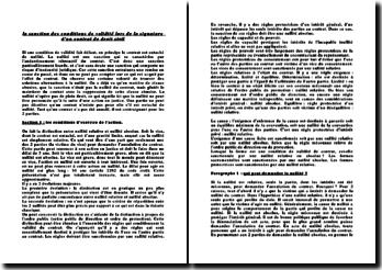 La sanction des conditions de validité lors de la signature d'un contrat de droit civil