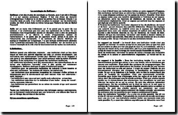 La sociologie de Goffman: présentation de 3 textes