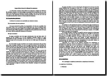Organisation, compétence et procédure devant le tribunal de commerce