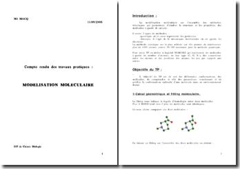 Compte rendu des travaux pratiques: modélisation moléculaire
