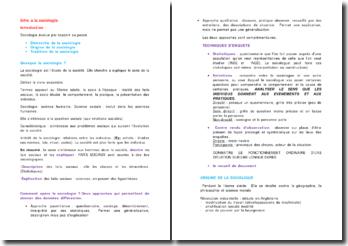 Introduction à la sociologie (démarche, origine et tradition)