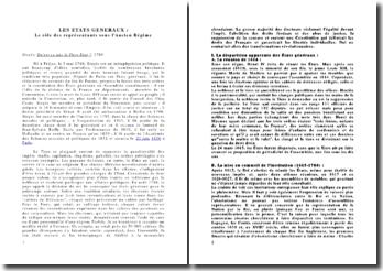 Les états généraux : Le rôle des représentants sous l'Ancien Régime - Sieyès, Qu'est ce que le Tiers Etat ? (1789)